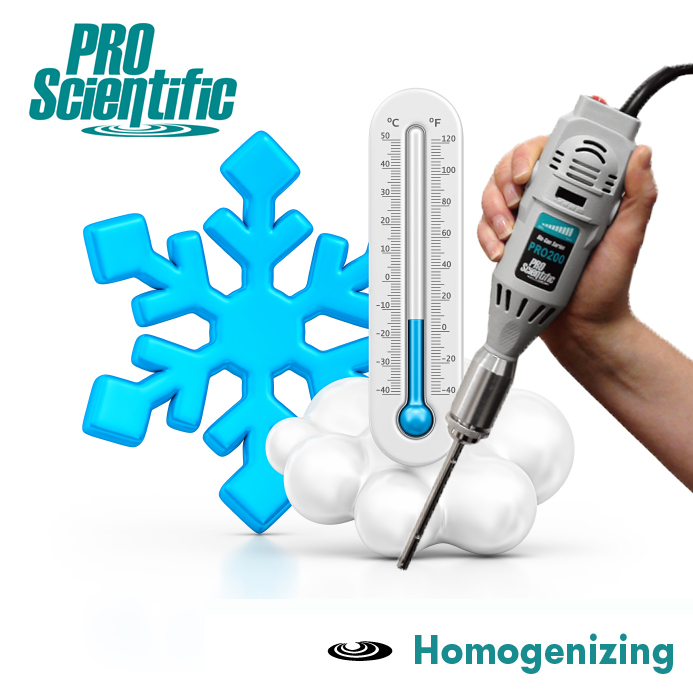 Frozen cold sample homogenizing